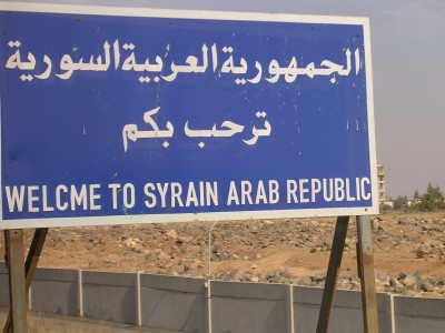 Syrian welcome sign